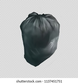 Digital illustration painting design a black full trash bag with clipping path included.