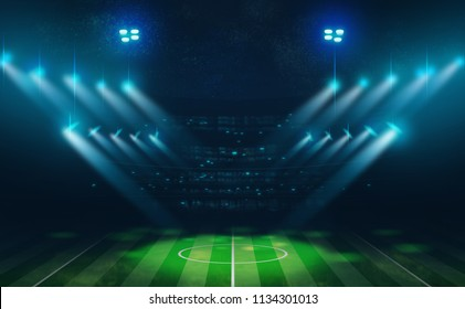 Digital illustration painting design a football arena and spotlight in nighttime.