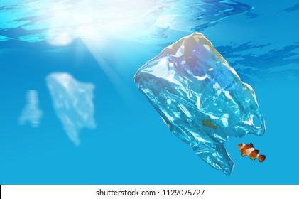 Digital illustration painting design Plastic pollution in ocean problem. anemone fish stuck in plastic bag.