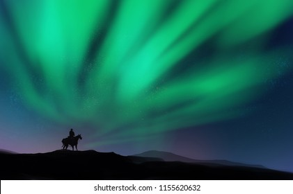 Digital illustration painting design style a cowboy riding horse on the hill agains aurora borealis with starry sky.
