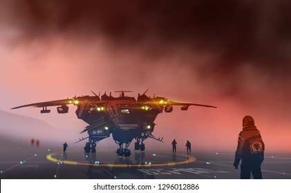 Digital illustration painting design style a space ship with pilots on runway against the big storm, sci-fi, futuristic  concept.