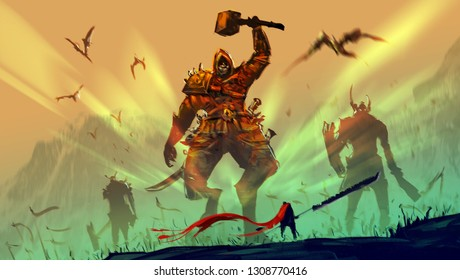 Digital illustration painting design style a knight and big sword against demon armies.