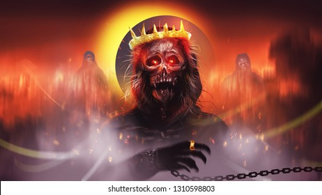 Digital illustration painting design style The hell king, ghost master in hell against blood eclipse.