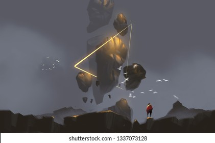 Digital illustration painting design style a man standing on the rock and floating rocks against mystery land.
