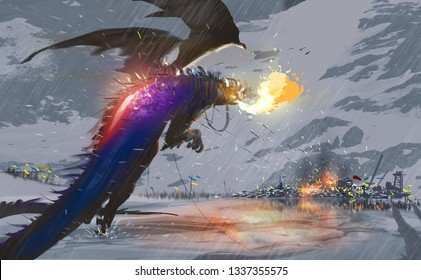 Digital illustration painting design style a huge dragon flying over snow and destroying a city with its fire, against snow mountains.