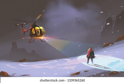 Digital illustration painting design style rescue teams used helicopter met a man in blizzard against cold night.
