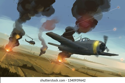 Digital illustration painting design style helicopter shooting to airplane over  Asia's paddy , aircraft war.