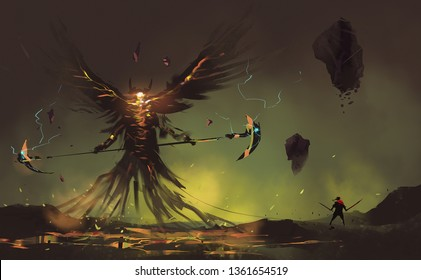 Digital illustration painting design style a  worrior with two hand swords against wing demon, last bosses in game.