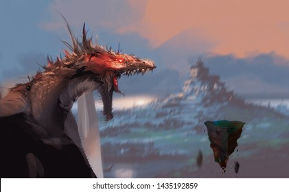 Digital illustration painting design style fantasy scence the dragon facing magic rocks (blank space for your elements on rock).