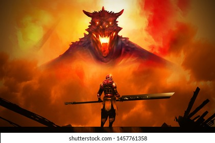 Digital illustration painting design style a knight in Hi tech armour suit and hole big sword against big dragon in explosion, ready fighting.