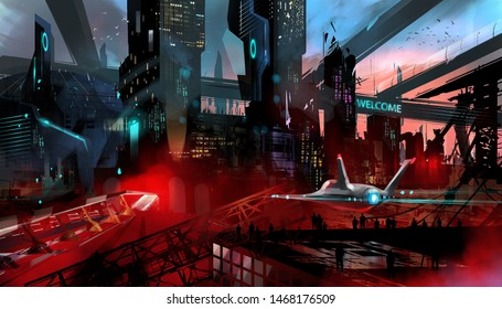 Digital illustration painting design style a survey jet flying above abandoned city and many people.