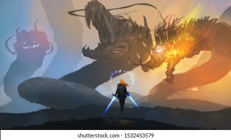 Digital illustration painting design style Lady knight ready to fighting with king many headed dragon, against its nest.