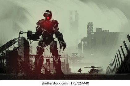 Digital illustration painting design style a giant robot repairing in abandoned dock, against abandoned city.