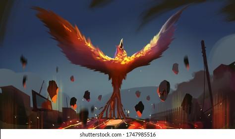 Digital illustration painting design style phoenix summoning from lava and ruins city.