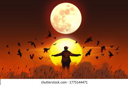 Digital illustration painting design style a man with birds in supernatural rituals, against the sun and the moon.