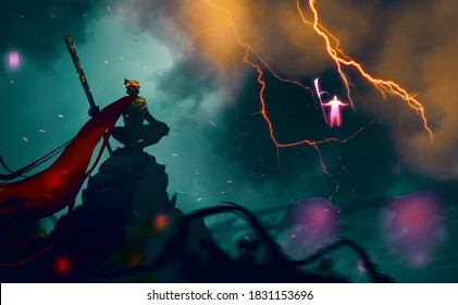 Digital illustration painting design style god of monkey fighting with god of war, against thunder and lightning.