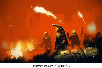Digital illustration painting design style People's insurgents, against ruined city.