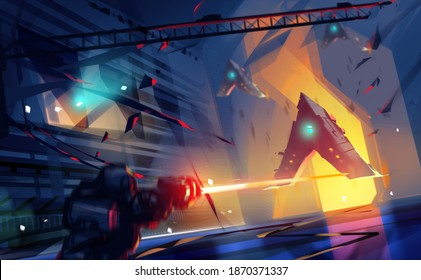 Digital illustration painting design style a star soldier shooting spaceship, against destroyed space corridor.