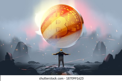 Digital illustration painting design style a businessman standing is in front of big gold coin, against mystery land.