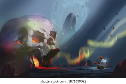 Digital illustration painting design style a man playing guitar is in front of portal of the hell, against land in life after death.