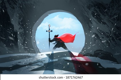 Digital illustration painting design style king with magic staff walk through his kingdom, against blue sky and blizzard.