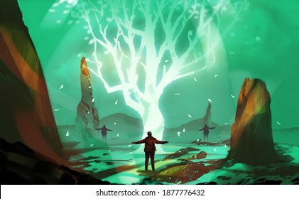 Digital illustration painting design style 3 men with magic ceremony, against glowing tree.