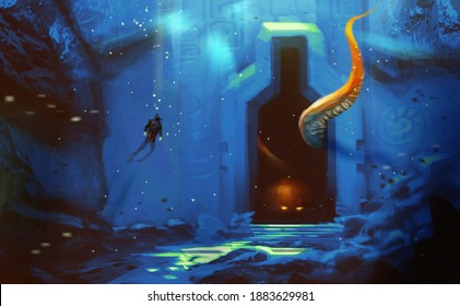 Digital illustration painting design style a man diving to ancient cave.