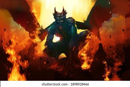 Digital illustration painting design style a devil sitting on big rock, against dark cave.