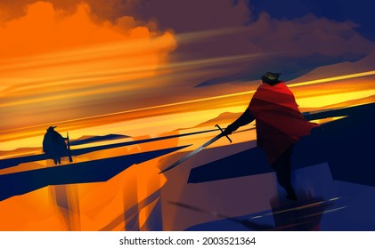 Digital illustration painting design style fighting scence on the beach, against sunset.
