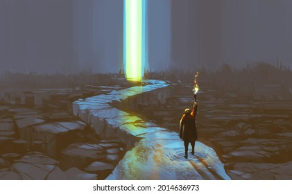 Digital illustration painting design style a man with torch walking along glowing light at the exit, against ruins.