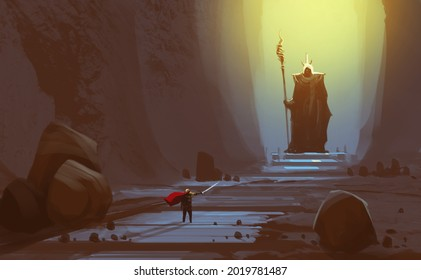 Digital illustration painting design style a knight is in front of giant statue, against ancient cave.