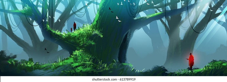 Digital illustration painting - a family in the woods, huge trees and mist.