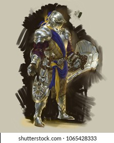 Digital illustration painting of fantasy character design metal armor knight