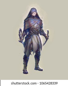 Digital illustration painting of fantasy character design of assassin