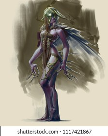 Digital illustration painting of fantasy character design female woman dark creepy lord queen
