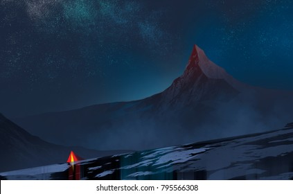 Digital illustration painting style : a red tent of tourist, hiker in valley view, snow mountains and a lot of stars in the midnight sky, adventure concept.