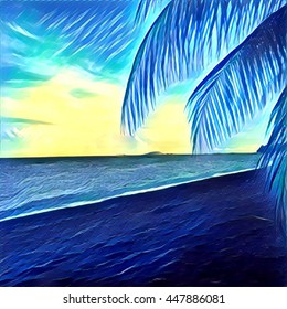 Digital illustration - Palm branch and sea, tropical background, blue and yellow neon color. Beach panorama with coconut leaf. Ocean landscape square picture for banner template, backdrop, print