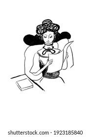 Digital illustration of People. Women reading newspaper.