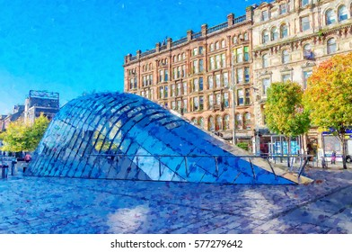 Digital illustration from a photograph of St. Enoch Square, Glasgow, Scotland. underground entrance, cobbled pavement, surrounding shops, trees, daytime.