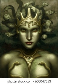digital illustration of realistic beautiful stunning mythical female woman character medusa