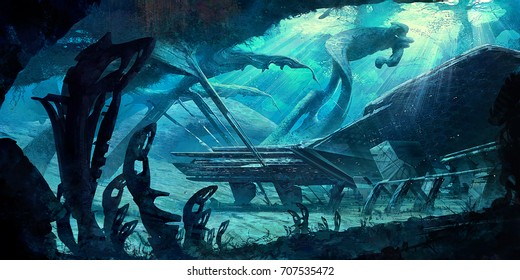 Digital illustration of science fiction futuristic building undersea with alien plants