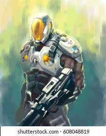 digital illustration of science fiction game character male wearing spacesuit futuristic armor and helmet with gun
