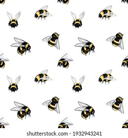 Digital illustration, seamless pattern with bee. Design for fabric, textile, wallpaper and packaging