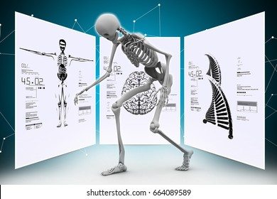 digital illustration of Skelton with  dna and body parts