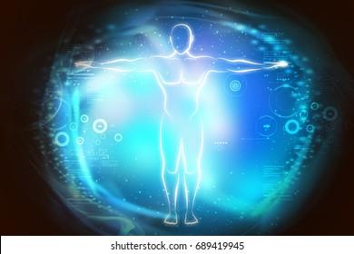digital illustration of Sketch of human body in light