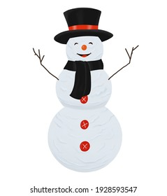 Digital illustration. Snowman from three balls in a hat and a scarf. Winter, new year, snowy, christmas. Isolated on a white background.