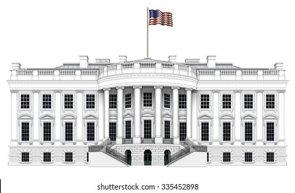 Digital illustration of the south view of the White House. Includes a clipping path.