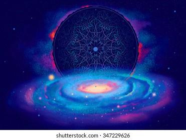 Digital Illustration of Spiral Galaxy with Mystic mandala ornament