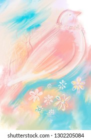 Digital illustration, spring concept with bird and flowers