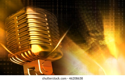 Digital illustration of steel microphone in colour background